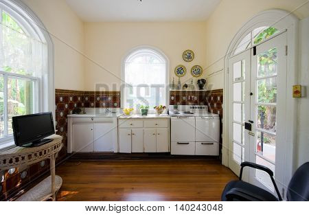 KEY WEST FLORIDA USA - MAY 03 2016: The kitchen of the Ernest Hemingway House in Key West in Florida.