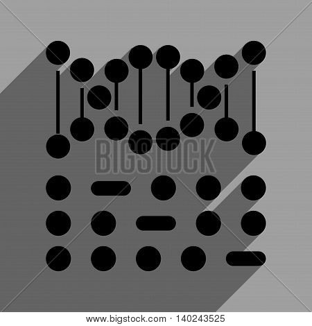 Genetic Code long shadow vector icon. Style is a flat genetic code black iconic symbol on a gray square background with longshadow.