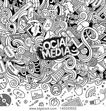 Cartoon cute doodles hand drawn internet illustration. Line art detailed, with lots of objects background. Funny vector artwork. Sketch picture with social media theme items. Square composition