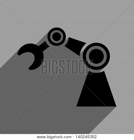 Manipulator long shadow vector icon. Style is a flat manipulator black iconic symbol on a gray square background with longshadow.