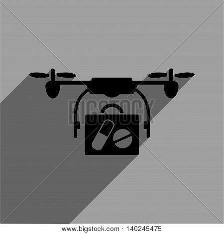 Medical Drone Shipment long shadow vector icon. Style is a flat medical drone shipment black iconic symbol on a gray square background with longshadow.