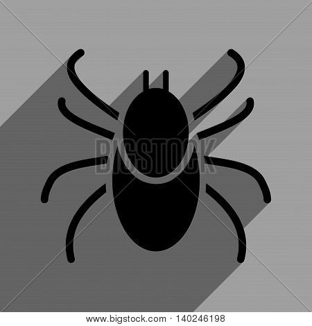 Mite long shadow vector icon. Style is a flat mite black iconic symbol on a gray square background with longshadow.