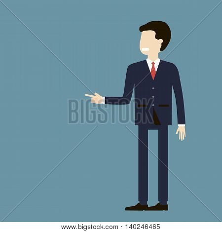 Angry boss shouting at an employee and points a finger away. Unemployment, dismissal, crisis, jobless and fired concept. Vector flat design. poster