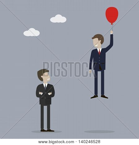 Businessman takes off in a balloon. Back up plan. The concept of success and loser. Vector illustration. Flat style characters