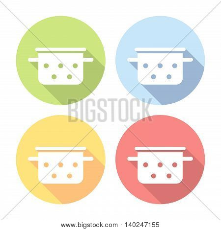 Saucepan Kitchen Equipment Flat Icons Set