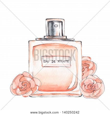 Bottle of perfume. Ink and watercolor sketch 5. Isolated on white background