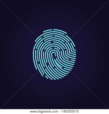 Id app fingerprint vector icon. Fingerprint pattern for security and protection, illustration password with touch fingerprint