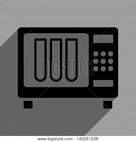 Sterilizer long shadow vector icon. Style is a flat sterilizer black iconic symbol on a gray square background with longshadow.