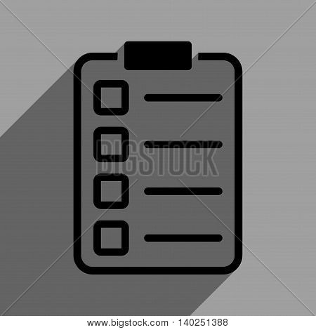 Test Form long shadow vector icon. Style is a flat test form black iconic symbol on a gray square background with longshadow.