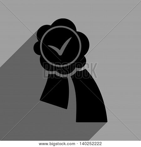Validation Seal long shadow vector icon. Style is a flat validation seal black iconic symbol on a gray square background with longshadow.