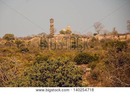 Chittorgarh Fort, Rajasthan, India. View Of The City. Panorama.