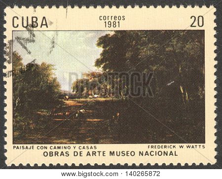 MOSCOW RUSSIA - CIRCA FEBRUARY 2016: a post stamp printed in CUBA shows a painting