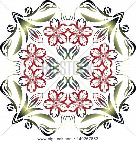 abstract floral ornament round shape. Mandala on a transparent background from flower elements decoration