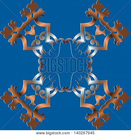 abstract decor in bronze. The pattern on the blue background of the elements of geometric figures vector