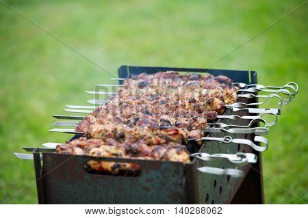Grilling marinated shashlik on a grill. Shashlik is a form of Shish kebab popular in Eastern, Central Europe and other places. Shashlyk (meaning skewered meat) was originally made of lamb.