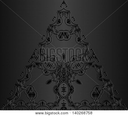 Vector vintage border frame engraving with retro ornament pattern in antique rococo style decorative design triangular shape