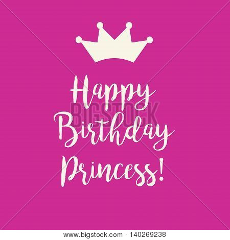 Cute Happy Birthday Cutie Pie card with a text and a princess crown on a pink background. poster