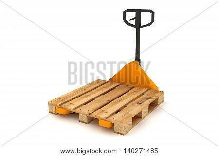 3D illustration of Hand forklift with wooden pallets isolated on white background.