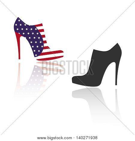 Vector illustration of women`s shoes. Ankle boots with elements of USA flag and black.