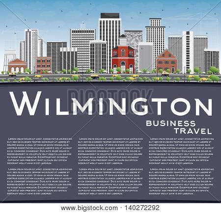 Wilmington Skyline with Gray Buildings, Blue Sky and Copy Space. Vector Illustration. Business Travel and Tourism Concept with Modern Buildings. Image for Presentation Banner Placard and Web Site.