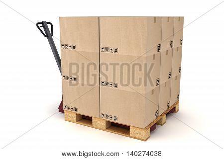 3D illustration of Cardboard boxes on pallet and hand forklift. Cargo delivery and transportation logistics storage.