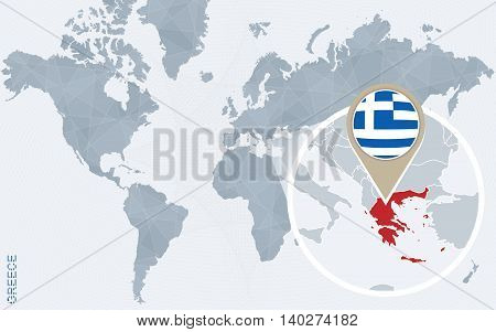 Abstract Blue World Map With Magnified Greece.
