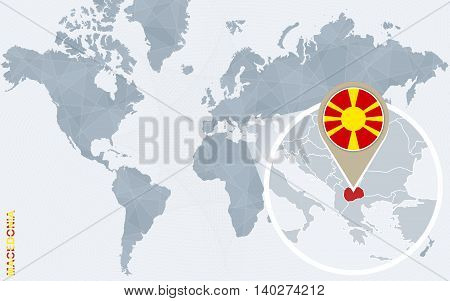Abstract Blue World Map With Magnified Macedonia.