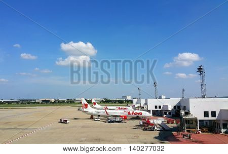 BANGKOK THAILAND - NOVEMBER01 2015: Boeing 737-900 Thai Lion Air parked at Don Mueang International Airport in Bangkok Thailand. Thai Lion Airways is low cost airline in Thailand.