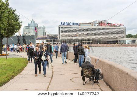 St. Petersburg, Russia - 16 July, Semicircular Neva embankment, 16 July, 2016. Statement of the legendary cruiser