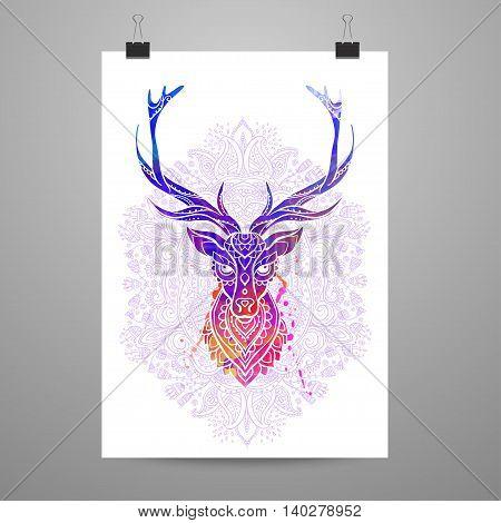 Ornament deer vector. Beautiful illustration deer  for design, print clothing, stickers, tattoos, Adult Coloring book. Hand drawn animal illustration. Ornamental deer lace