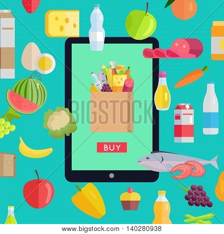 Online food market web banner. Vector in flat design. Illustration of various food and drinks with web page template on tablet screen. Concept for grocery shop, supermarket, farm site design.