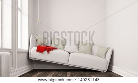 Small narrow living room with space problems and a sofa between walls (3D Rendering)