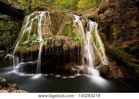 Waterfall Bigar in summer located at the intersection with the parallel 45 in district Caras-Severin, Romania. One of the most beautiful cascade in the world