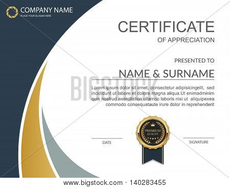 Certificate template, Certificate of appreciation. Vector illustration