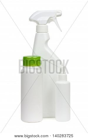 Cleaning Equipment, Detergent Bottles And Chemical Cleaning Supplies, Isolated On White Background..