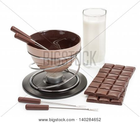Brown Fondue, For The Preparation Of Chocolate Fondue With Dark Chocolate And Cream, With A Candle,