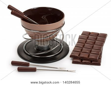 Brown Fondue, For The Preparation Of Chocolate Fondue With Dark Chocolate And A Candle, Isolated On