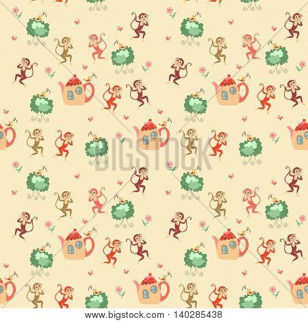 Beautiful childish seamless pattern with monkeys, teapots, shrubs, birds, flowers and butterflies. Cute vector illustration.