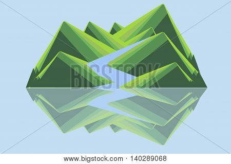 Mountain landscape with river. Green hills, blue river reflecting in water. Modern flat design, design element, vector
