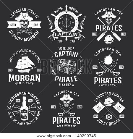 Caribbean pirates monochrome emblems with helm ship pistol saber jolly roger on black background isolated vector illustration