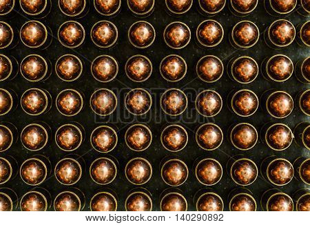 9 mm ammunition bullets on the dark background slate