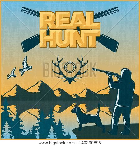 Hunting colored poster man with dog hunting small game and headline real hunt vector illustration