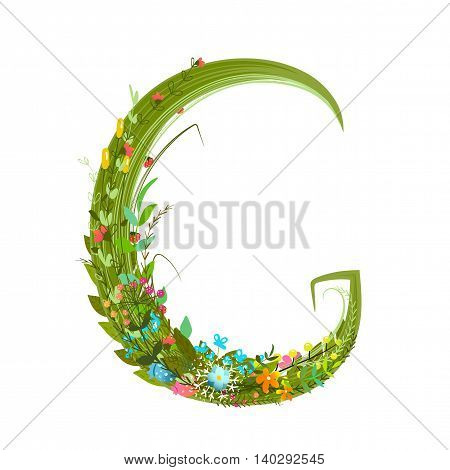 Flower ABC sign G. Floral summer colorful intricate calligraphy design element. Vector illustration.