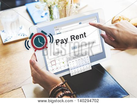Pay Rent Leasable Real Estate Renting Available Concept