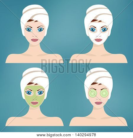 Beauty and spa procedures made in flat design.