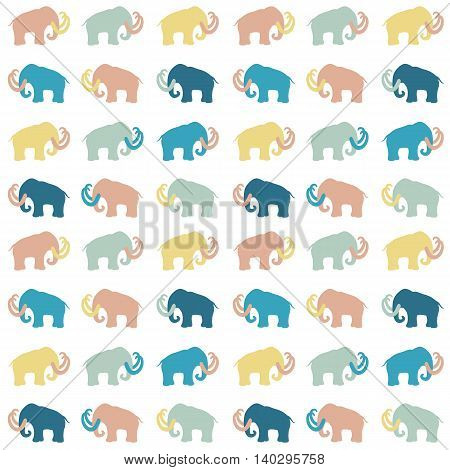 Seamless pattern with mammoth silhouettes, vector illustration. Can be used for wallpaper, web page background, greeting cards, fabric print