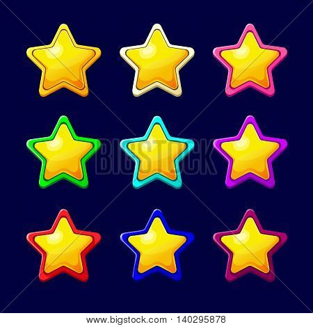 Vector illustration. Set of Cartoon Stars.Cartoon colorful glossy Star in different colors isolated on a dark background.Game icon.Vector design for app user interface and score display.Golden stars.