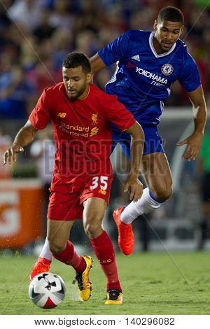 PASADENA, CA - JUNE 4: Ruben Loftus-Cheek & Kevin Stewart during the 2016 ICC game between Chelsea & Liverpool on July 27th 2016 at the Rose Bowl in Pasadena, Ca.