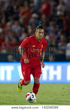 PASADENA, CA - JUNE 4: Roberto Firmino during the 2016 ICC game between Chelsea & Liverpool on July 27th 2016 at the Rose Bowl in Pasadena, Ca.