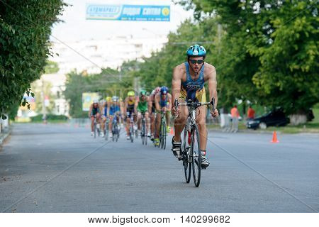 Triathlon Cup of Ukraine and Cup of Bila Tserkva. July 24 2016 in Bila Tserkva Ukraine. Bicycle racing